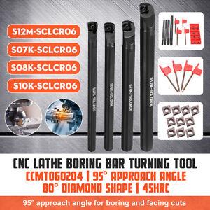 7//8//10//12mm SCLCR06 Lathe Boring Bar Turning Tool Set w// 10pcs CCMT060204 Insert
