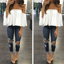 Women Off Shoulder Loose Sexy Tops Long Sleeve Pullover T-Shirt Casual Blouse