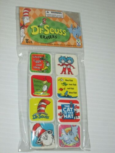 DR SEUSS CAT IN THE HAT SQUARE ERASERS GREEN EGGS ONE FISH HORTON PK//8