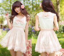 Kawaii Princess Cute Sweet Dolly Wedding Lolita Lace sailor Collar Dress Pink