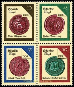 EBS-East-Germany-DDR-1988-Historical-Seals-II-block-Mi-3156-3159ZD-MNH