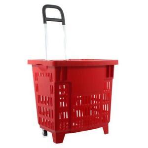 Einkaufstrolley, Einkaufskorb mit Rollen 55L Rot | eBay