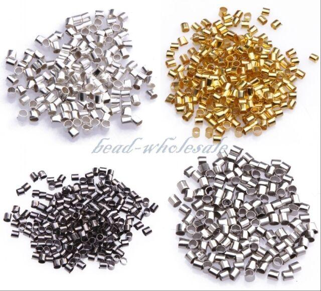 1.5/2mm 500/1000pcs Silver/Golden/Dark Silver/Black Plated Tube Crimp End Beads