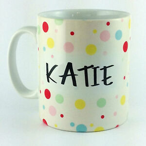 POLKA-DOTS-SPOTS-PERSONALISED-ANY-NAME-TEXT-MESSAGE-GIFT-MUG-CUP-SPOTTY-DOTTY