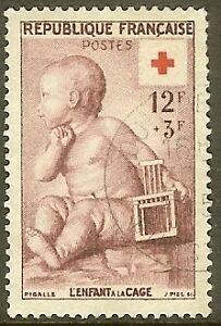 FRANCE-TIMBRE-STAMP-N-1048-034-CROIX-ROUGE-ENFANT-A-LA-CAGE-034-OBLITERE-TB