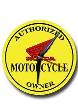 AUTHORIZED HONDA  MOTORCYCLE OWNER  METAL CLOCK