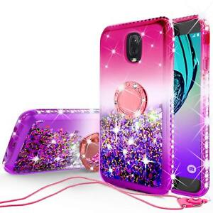 Samsung-J7v-2nd-Gen-J7-Refine-J7-Star-Liquid-Glitter-Case-Girls-Kickstand-Pink