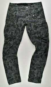 G-STAR-RAW-Rovic-Qane-3D-Tapered-Cargohose-Black-AO-Camouflage-Jeans-W33-L32