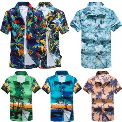 Men Hawaiian Print Short T-Shirt Summer Beach Quick Dry Blouse Tops Lapel Blouse