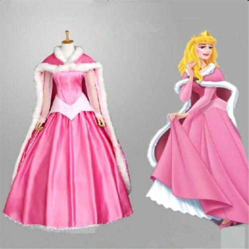Sleeping Beauty Princess Aurora Dress Cosplay Costume Pink Gown Custom Made NN