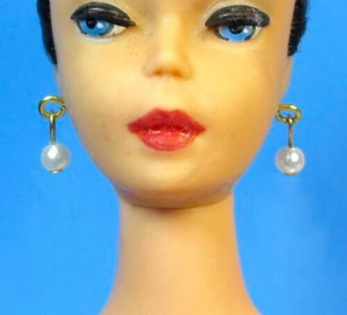 Dreamz WHITE DROP PEARL EARRINGS Gold-Plated Posts Doll Jewelry made for Barbie