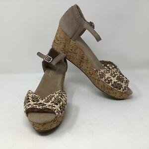 Toms Beige Weave Cork Wedge Sandals Heels Buckle Shoes Womens W11