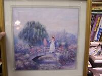 WELL DRESSED LADY / BRIDGE PRINT 22 BY 22 - BEAUTIFUL GOLD WOOD FRAMED & MATTED