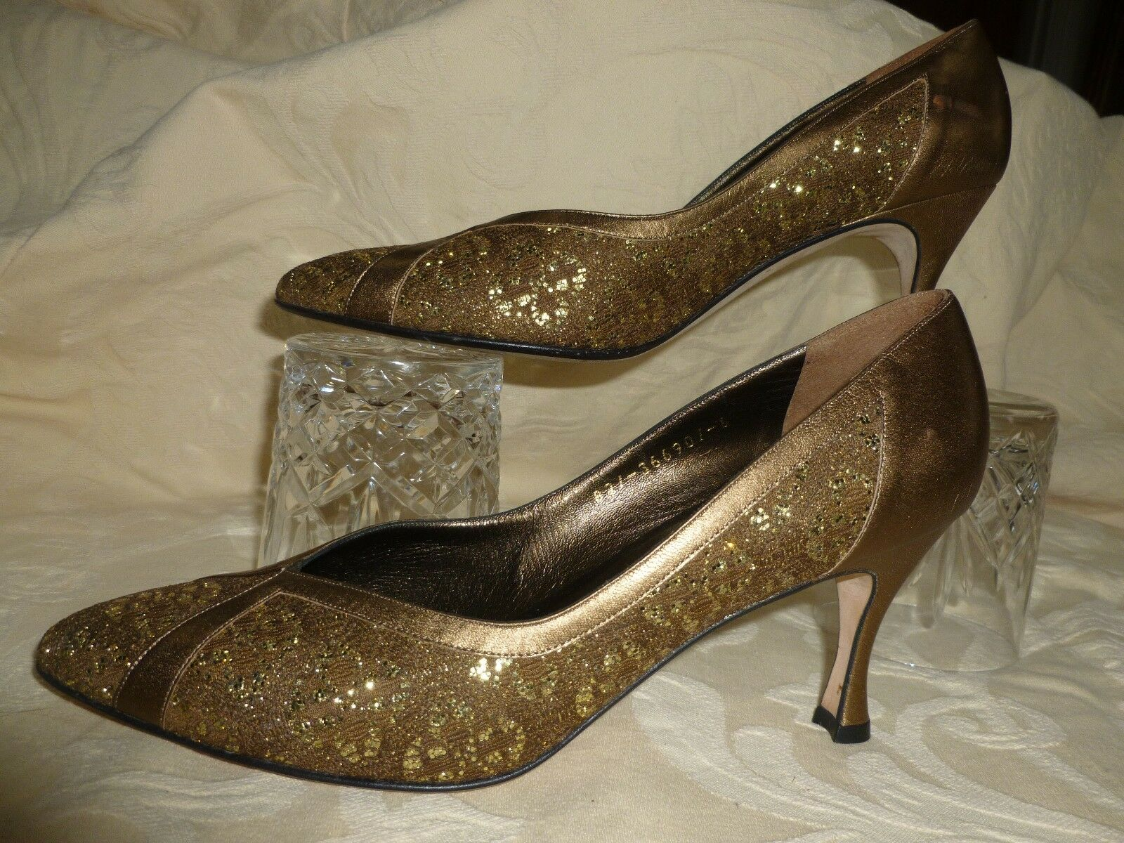 GINA LONDON GOLD LEATHER AND LACE  Schuhe  UK IN 6   MADE IN UK ENGLAND fa5dd1