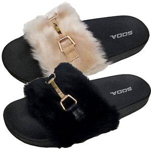 3a284305c4ae Fur Slides Rihanna Slides Style Faux Fur Flip Flop Slippers Flat ...