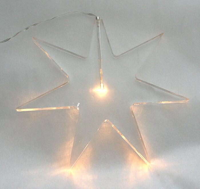 STELLA IN PLEXIGLASS TRASPARENTE CON LUCE LED FrougeDA 25X25 CM DECORAZIONI NATALE