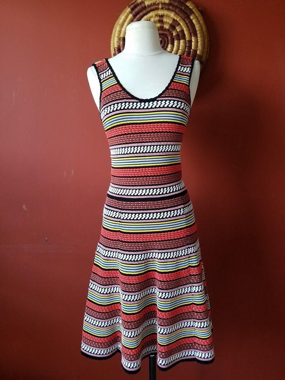 Ronny Kobo MultiFarbe Knit Embellished Striped Flarot Skirt Dress M Vacation