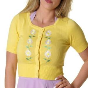 COLLECTIF-YELLOW-FLORA-DAISY-CROPPED-CARDIGAN-ROCKERBILLY-VINTAGE-ALTERNATIVE