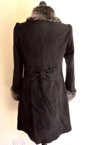 Slim Long Small Centigrade Black Collard Sleeve Coat Faux Fur Size Ladies wqYO7YZX