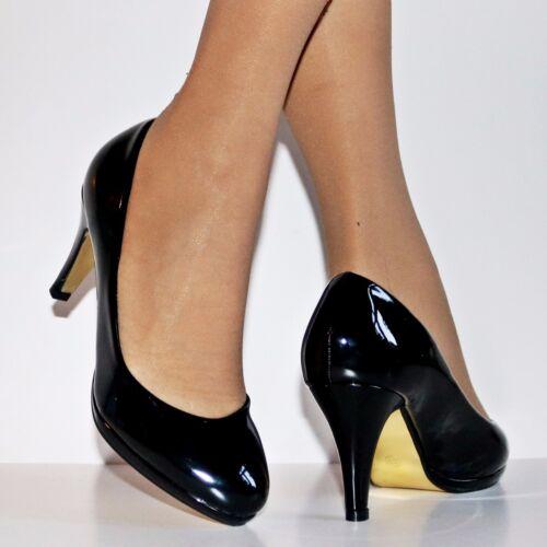 Ladies Patent Mid Heel Evening Party Casual Platform Court Shoes Pumps Size//9161