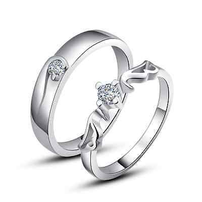 925 Sterling Silver Couple Love Imperial Crown Wedding Rings Size 4.5-12 Sy09