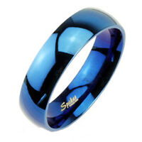 6mm Mens Wedding Band Ring Blue Ip High Polished Stainless Steel Comfort Fit