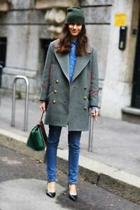 Isabel-Marant-Coat-David-Military-Double-Breasted-Gray-Red-FR42-NWT-FW12-Runway