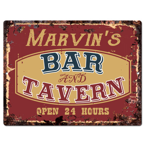 PPBT0115 MARVIN/'S BAR and TAVERN Rustic Tin Chic Sign Home Store Decor Gift