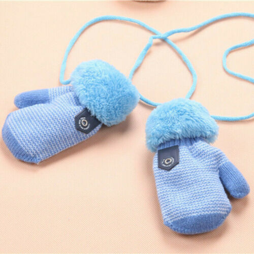 Winter Warm Kleinkind Baby Kinder Dickes Fell Handschuhe Hals String Fäustlinge