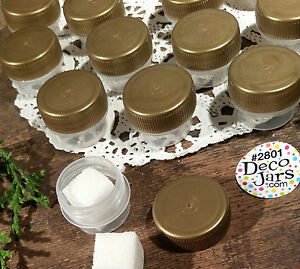 100-Gold-Cap-Lid-2801-Clear-Mini-JARS-Sample-Container-1-8oz-Made-in-USA-New