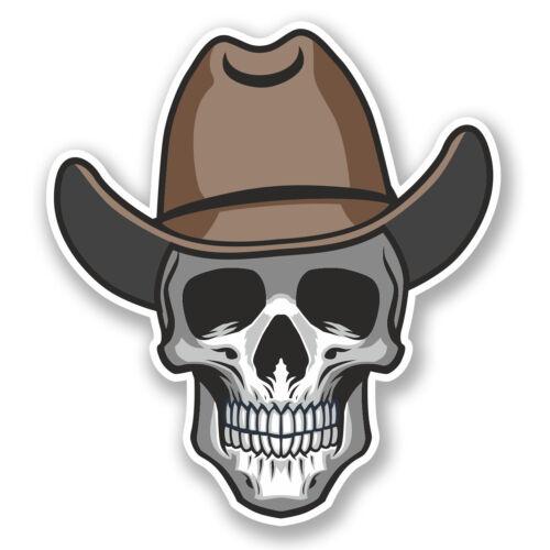 2 x Autocollant Vinyle crâne cowboy decal iPad Portable Voiture Casque Vélo Skate fun # 4794