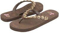 "New Womens Justin ""Stace"" Bling Western Sandal-Flip Flops 5515402 Sz 5 Brown 49F"