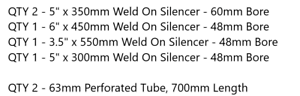 Weld on Silencers T304 and Perforated Tube