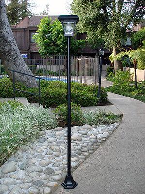 "77"" H Solar Powered Lamp Post Vintage Street Light w/ 4 Super Bright LEDs"