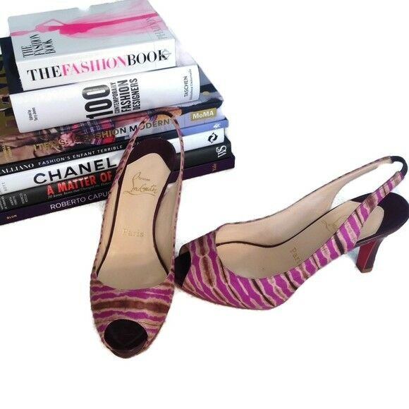 Christian Louboutin Heels 38 Pink Brown Print Peep Toe Sling Back Platform Prive