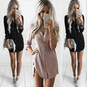 AU-Womens-Plain-Shirt-Dress-Casual-Long-Sleeve-Chiffon-Loose-T-Shirt-Blouse-New