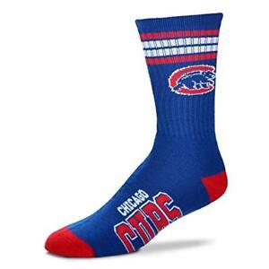 Chicago-Cubs-For-Bare-Feet-MLB-4-Stripe-Deuce-Crew-Socks-SZ-Large