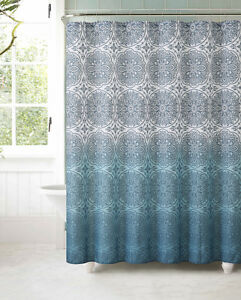 Fabric Shower Curtain With 12 Roller Ball Hooks Teal Ombre Floral Medallion