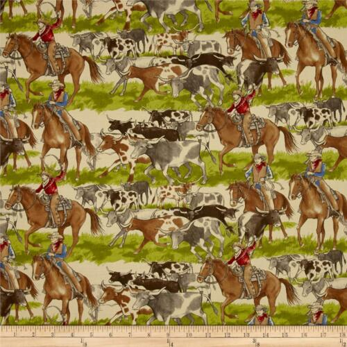 Sundance Trail Cattle Heard Natural Quilt Fabric Cowboys Premium Cotton Moda