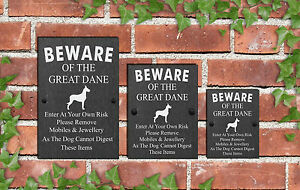 Humorous-Beware-of-the-Dog-Slate-Funny-Gate-House-Sign-3-Sizes-ALL-BREEDS-D-L