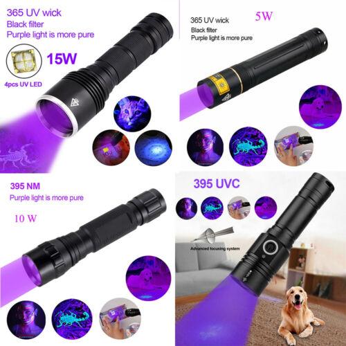 Ultraviolet 365nm 395nm UV LED Flashlight Torch Pet Urine Inspect Detector Ligh