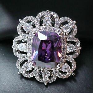 2-5-Ct-Cushion-Purple-Amethyst-Ring-Women-Wedding-Jewelry-14K-White-Gold-Plated