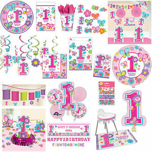 Sweet Pink Butterfly Girls 1st Birthday Party Supplies Tableware
