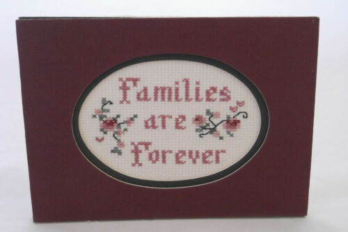 FAMILIES ARE FORVER~HANDCRAFTED COUNTED CROSS STITCHED 7 X 5 DOUBLE MATTED