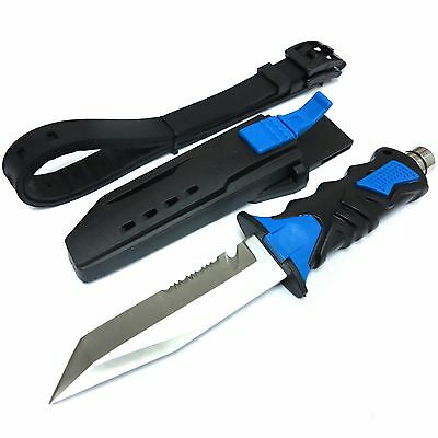 Saber Diving Knives Rescue Scuba Diver High Hardness w/ Leg Strap Straight BLUE
