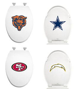FC344-NFL-LOGO-TEAM-THEME-WHITE-ELONGATED-MOLDED-WOOD-OVAL-TOILET-SEAT-COVER-LID