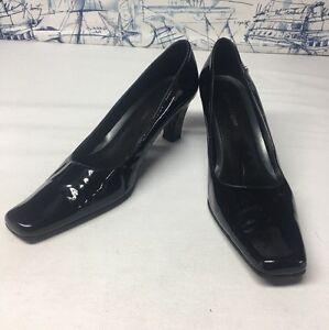 Etienne-Aigner-Black-Patent-Leather-Heel-Pumps-Women-039-s-10M