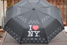 I (LOVE) HEART NY NEW YORK RAIN UMBRELLA COMPACT TRI FOLD BLACK STURDY