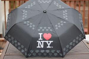 8229376ab7d0 Details about I (LOVE) HEART NY NEW YORK RAIN UMBRELLA COMPACT TRI FOLD  BLACK STURDY
