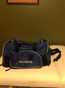 61e8f742 Details about Reebok Blue Nylon Duffle Bag Portable Travel Suitcase Gym  Athletic Sports Tote